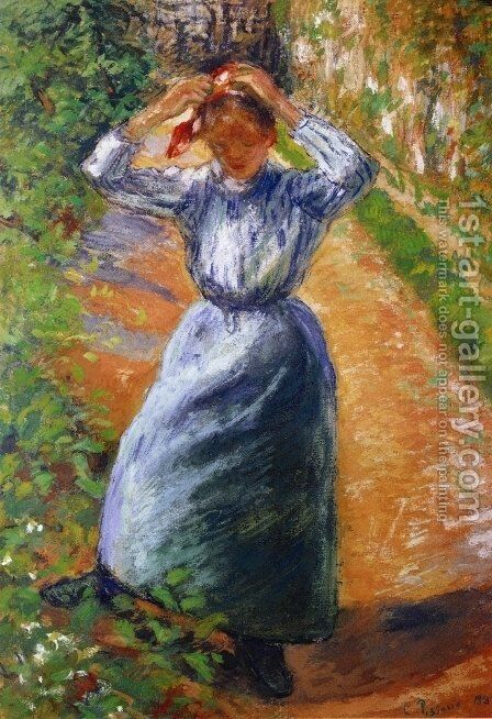 Peasant Donning Her Marmotte by Camille Pissarro - Reproduction Oil Painting