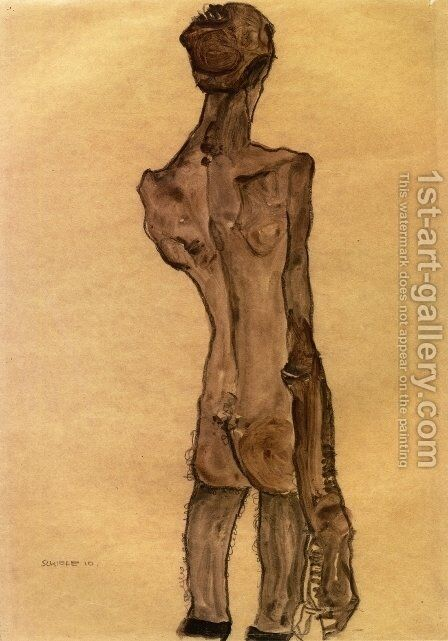 Standing Male Nude, Back View by Egon Schiele - Reproduction Oil Painting