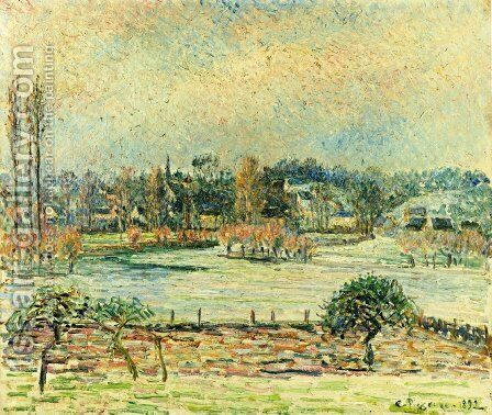 View of Bazincourt, Flood, Morning Effect by Camille Pissarro - Reproduction Oil Painting