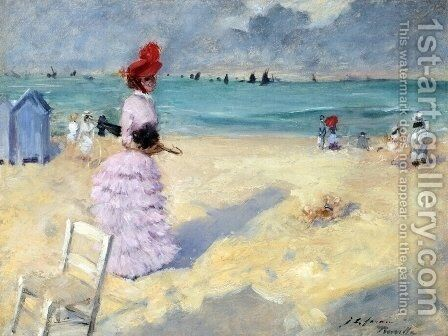 The Beach at Trouville by Jean-Louis Forain - Reproduction Oil Painting