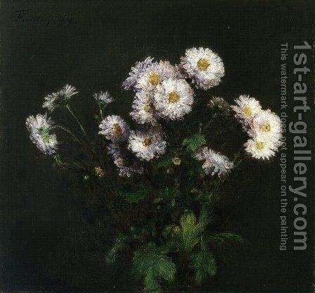 Bouquet of White Chrysanthemums by Ignace Henri Jean Fantin-Latour - Reproduction Oil Painting