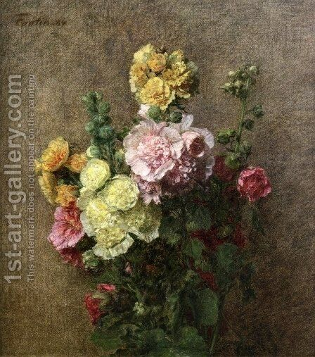 Hollyhocks without Vase by Ignace Henri Jean Fantin-Latour - Reproduction Oil Painting