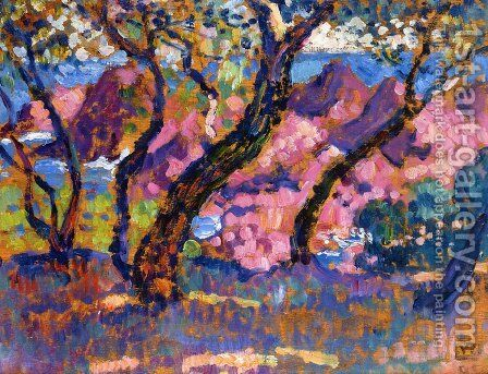 In the Shade of the Pines (study) by Theo van Rysselberghe - Reproduction Oil Painting