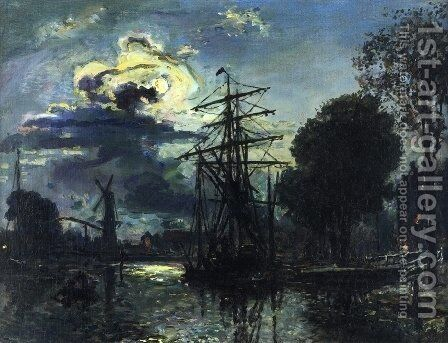 Canal in the Moonlight by Johan Barthold Jongkind - Reproduction Oil Painting