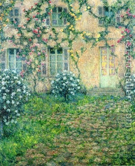 House with Roses by Henri Eugene Augustin Le Sidaner - Reproduction Oil Painting