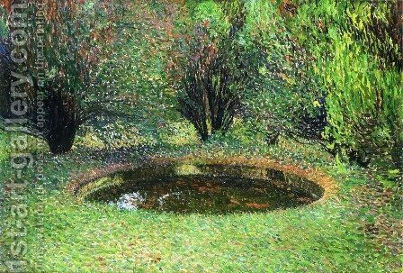 Marquayrol, Basin with Thujas by Henri Martin - Reproduction Oil Painting