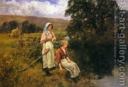 Farm Girls by a Stream by Henry John Yeend King - Reproduction Oil Painting