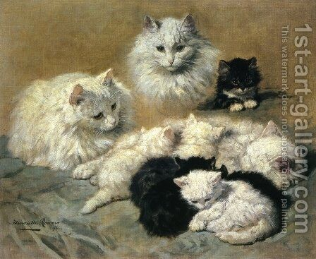 Cats and Kittens by Henriette Ronner-Knip - Reproduction Oil Painting