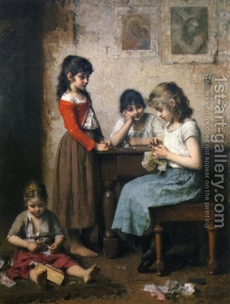 The Young Seamstress by Alexei Alexeivich Harlamoff - Reproduction Oil Painting
