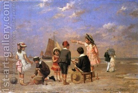 Children on the Beach by Albert Roosenboom - Reproduction Oil Painting
