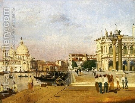 Venice, the Molo towards Ovest by Ippolito Caffi - Reproduction Oil Painting