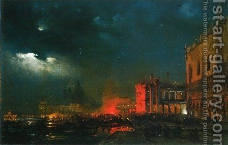 Night Festival on the Molo di San Marco upon the Feast Day of the Archduke Massimiliano d'Asborgo by Ippolito Caffi - Reproduction Oil Painting
