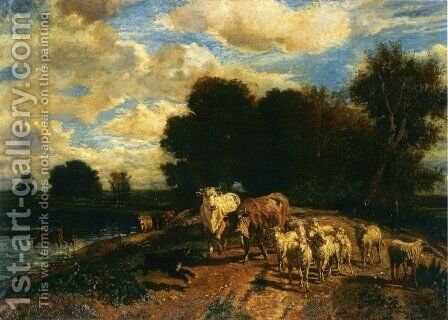 Returning to Pasture by Giuseppe Palizzi - Reproduction Oil Painting