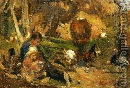 Child in a Farmyard by Cesare Ciani - Reproduction Oil Painting
