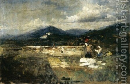 Landscape with Figures by Cesare Tallone - Reproduction Oil Painting