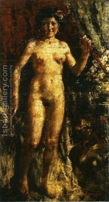 Female Nude by Antonio Mancini - Reproduction Oil Painting