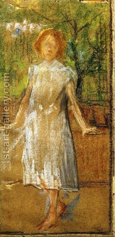 Girl in a White Dress by Giovanni Sottocornola - Reproduction Oil Painting