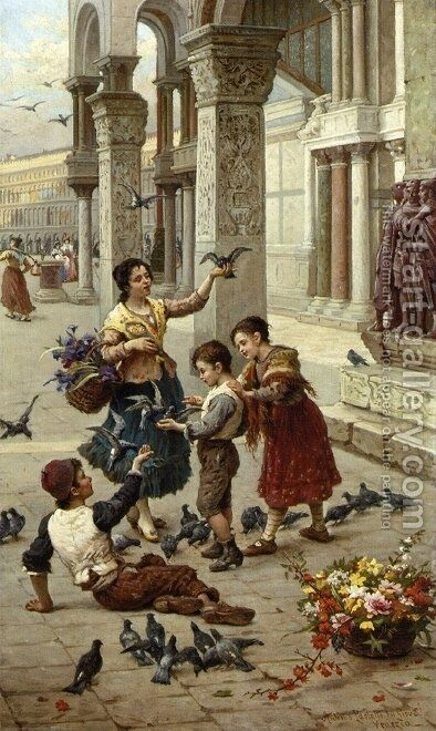 Feeding the Pigeons at Piazza St. Marco, Venice by Antonio Paoletti - Reproduction Oil Painting