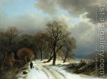 A Figure Walking His Dog on a Path in a Winter Landscape by Barend Cornelis Koekkoek - Reproduction Oil Painting