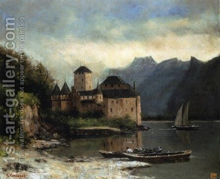 View of the Chateau de Chillon by Gustave Courbet - Reproduction Oil Painting