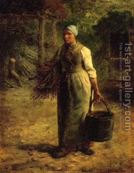 Woman Carrying Firewood and a Pail by Jean-Francois Millet - Reproduction Oil Painting