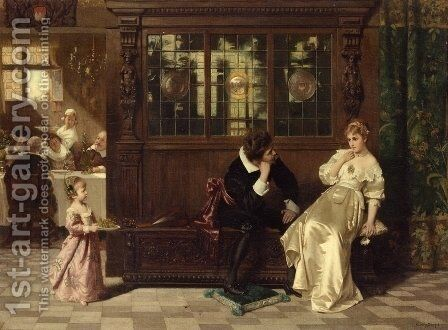 A Welcome Interruption by Carl Rudolph Sohn - Reproduction Oil Painting