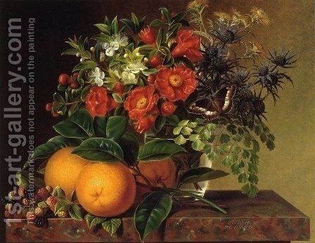 Thistle, Echinops, Myrtle in a Glass Vase with Oranges, Blackberries and a Butterfly no a Brown Marble Ledge by Johan Laurentz Jensen - Reproduction Oil Painting