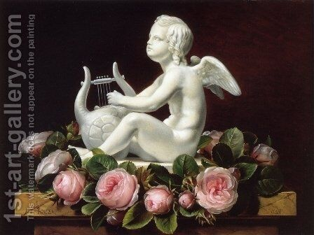 Garland of Pink Roses around 'Cupid Playing a Lyre' on a Brown Marble Ledge by Johan Laurentz Jensen - Reproduction Oil Painting