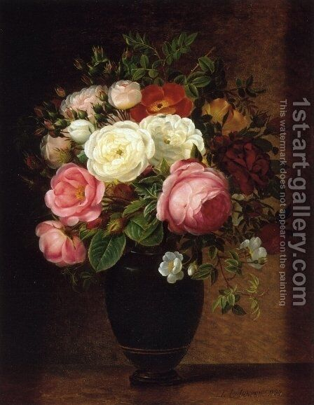 Pink and White Roses in a Black Glaze Amphora on a Brown Marble Ledge by Johan Laurentz Jensen - Reproduction Oil Painting