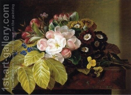 Pansies, Appleblossoms, Gloxinia, Phlox and Primula Auricula on a Brown Marble Ledge by Johan Laurentz Jensen - Reproduction Oil Painting