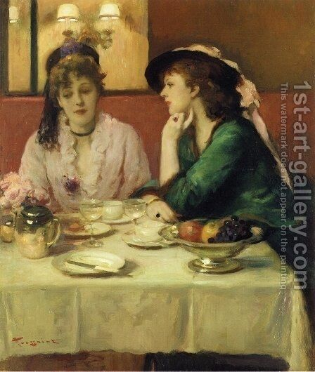 Confidences au Dejeuner by Armand (Francois-Christophe) Toussaint - Reproduction Oil Painting