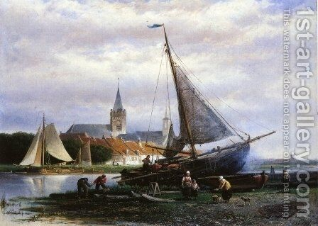 A River Landscape with a Fishing Boat on a Shipyard, a Village Beyond by Johan Adolph Rust - Reproduction Oil Painting