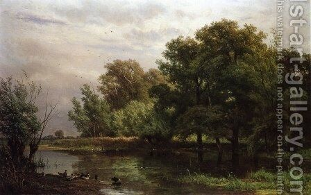 A Wooded River Landscape with Ducks on a Bank by Jan Willem Van Borselen - Reproduction Oil Painting