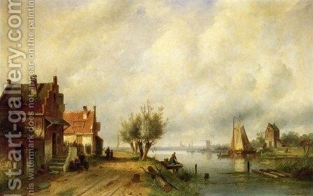 A River Landscape in Summer with Peasants Conversing by Old Houses along a Road, Moored Shipping Across, a Town in the Distance by Charles Henri Leickert - Reproduction Oil Painting