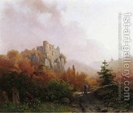 Summer: A Peasant on a Rocky Path, a Ruin in the Background by Alexander Joseph Daiwaille - Reproduction Oil Painting