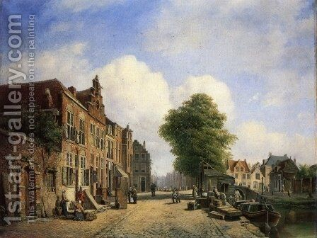 A View in a Town with Townsfolk on a Street along a Canal by Marinus van Raden - Reproduction Oil Painting