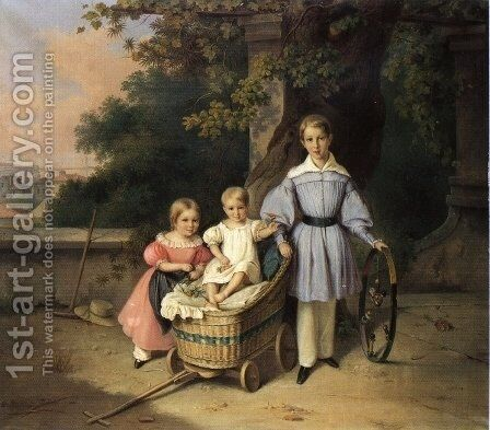 Children on a Balcony, Trieste in the Distance by August Anton Tischbein - Reproduction Oil Painting