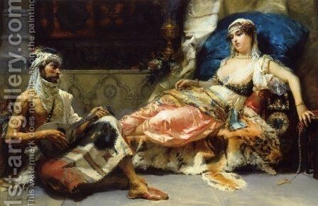 A Musical Interlude by Cesare-Auguste Detti - Reproduction Oil Painting