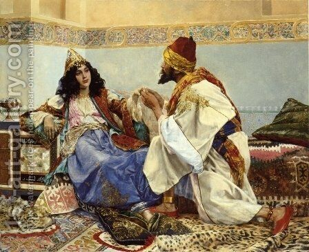 The Gift for the Favorite by Antonio Maria Fabres Y Costa - Reproduction Oil Painting
