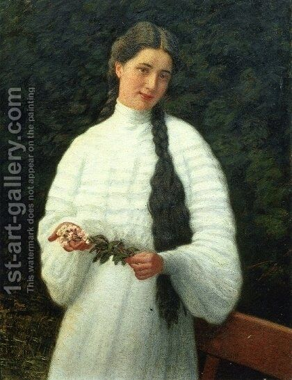 Portrait of a Lady by Angelo Morbelli - Reproduction Oil Painting