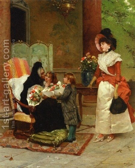 Flowers for Grandmother by Auguste Emile Pinchart - Reproduction Oil Painting
