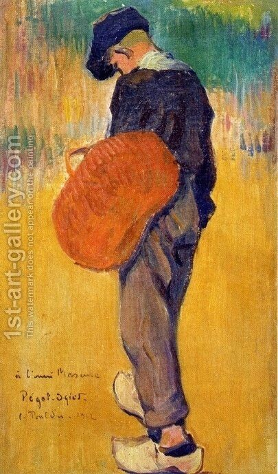 Breton Boy with Basket by Jean-Bertrand Pegot-Ogier - Reproduction Oil Painting