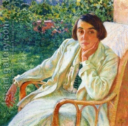Elizabeth van Rysselberghe in a Cane Chair by Theo van Rysselberghe - Reproduction Oil Painting