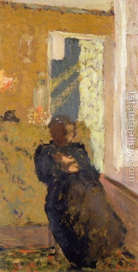 Seated Woman Dressed in Black by Edouard  (Jean-Edouard) Vuillard - Reproduction Oil Painting