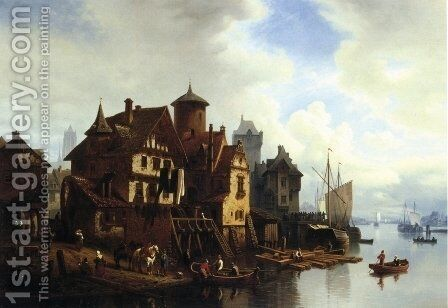 A Harbor Town by Hermann Meyerheim - Reproduction Oil Painting
