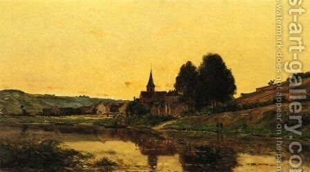 A Village near Bonnieres by Hippolyte Camille Delpy - Reproduction Oil Painting