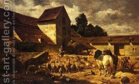 A Farmyard by Charles Émile Jacque - Reproduction Oil Painting