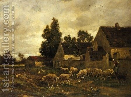 Shepherdess and Her Flock by Charles Émile Jacque - Reproduction Oil Painting