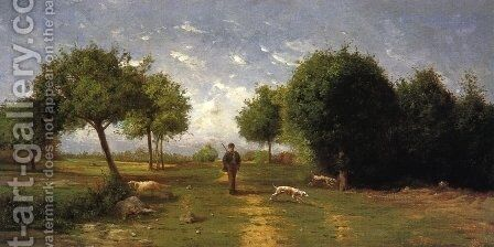 Huntsman and His Hounds by Antoine Chintreuil - Reproduction Oil Painting