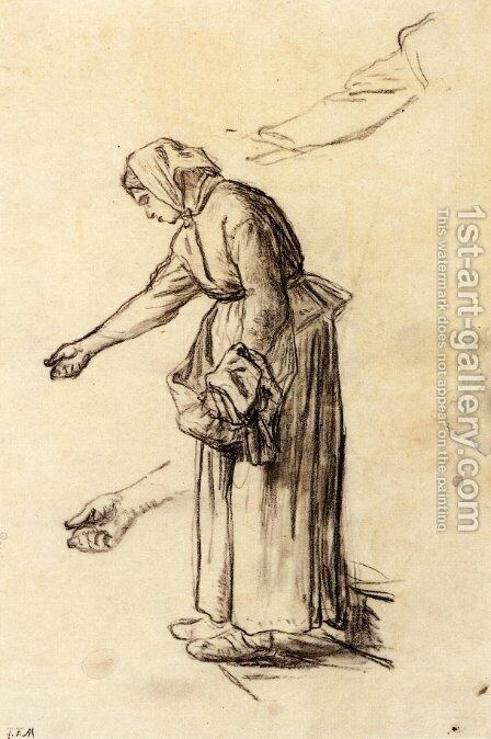 Study for a Woman Feeding Chickens by Jean-Francois Millet - Reproduction Oil Painting